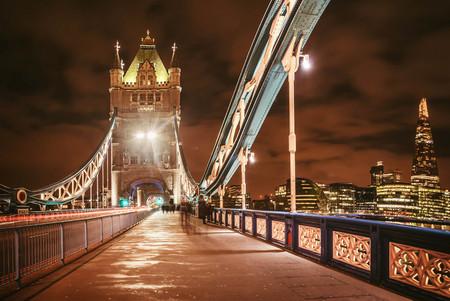 Tower Bridge at night in London, UK