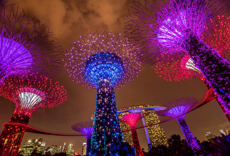 Illuminated Supertrees in Gardens by the Bay at night, Singapore Editorial