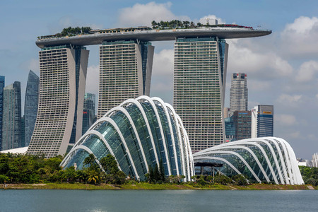 Singapore  skyline business district, Marina Bay Sand and the Garden by the Bay