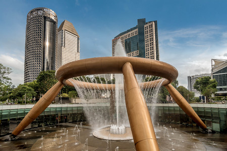 Singapore, Asia- March 1, 2018:Fountain of Wealth near Suntec Buildings in Singapore