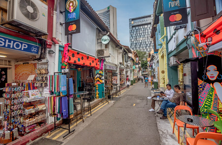Singapore, Asia- March 1, 2018: Haji Lane in Kampong Glam is Singapore  mecca of fashion boutiques