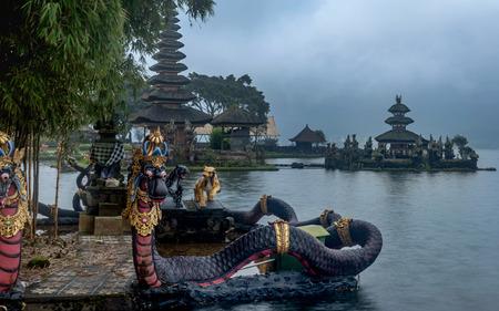 Bali, Indonesia- March 6, 2018: Beautiful landmark, pura ulun danu bratan temple in Bali, indonesia