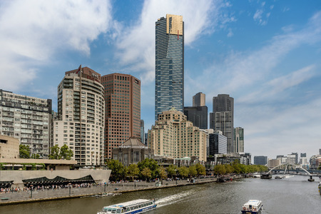 River Yarra and buildings on the Southbank, Melbourne, Australia