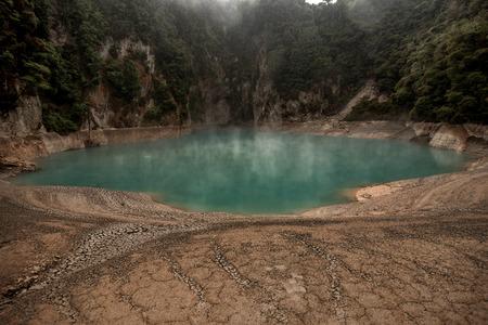 Inferno Crater Lake in Waimangu Volcanic Valley near Rotorua, New Zealand