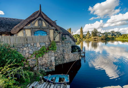 Hobbiton movie set created for filming The Lord of the Rings and The Hobbit movies in North Island of New Zealand