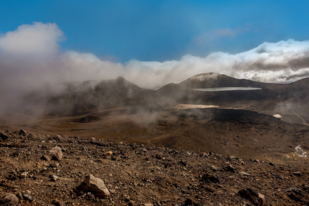 Thermal vapor along the Tongariro Alpine trail Crossing, New Zealand Imagens