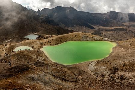 View at beautiful Emerald lakes on Tongariro Crossing track  Tongariro National Park in  New Zealand