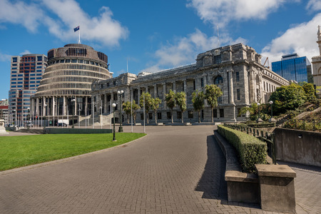 Wellington, New Zealand- March 28, 2018:Executive Wing of the New Zealand Parliament Buildings located at the corner of Molesworth Street and Lambton Quay Wellington