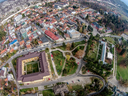 View from above of the city of Cetinje, Montenegro 写真素材