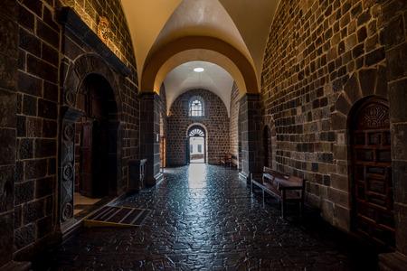 Cusco, Peru- March 17, 2017: The inside of the Convent  of Santo Domingo above in Cusco, Peru