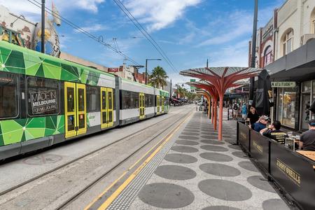Melbourne, Australia- March 11, 2018:City scene with stores and restaurants in Melbourne, Australia