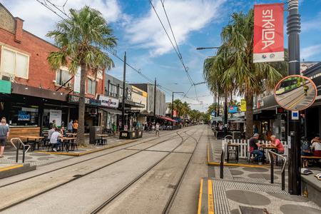 Melbourne, Australia- March 11, 2018: City scene with stores and restaurants in Melbourne, Australia Editorial