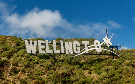 Wellington letter sign on the hill  in Wellington, New Zealand