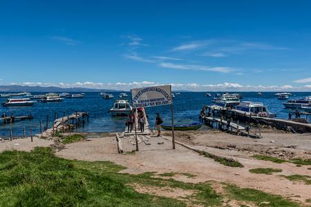Copacabana, Bolivia- March 21, 2017: Copacabana Bay on Titicaca lake, Bolivia