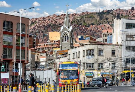 La Paz, Bolivia- March 28, 2017: Busy traffic street in  La Paz, Bolivia Editorial