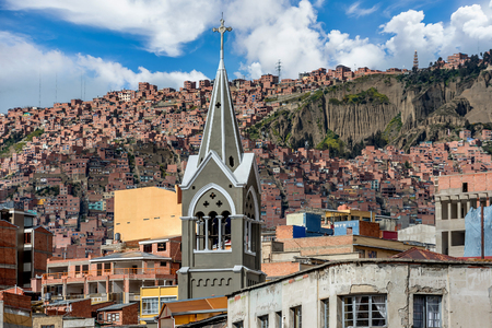 Panoramic view of one of the slums in  La Paz, Bolivia