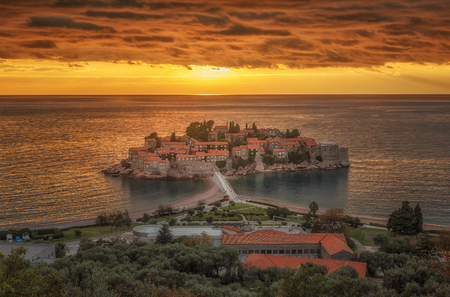St Stefan Island  in the sunset in Budva, Montenegro Stock Photo