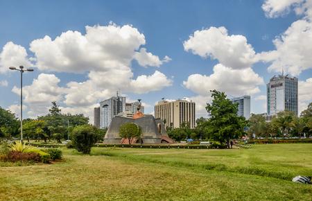 Nairobi, Kenya- March 5, 2016:Nyayo Monument in Central Park in Nairobi, Kenya