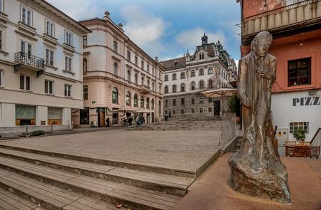 Ljubljana, Slovenia- January 7, 2019: Monument to Gustav Mahler in Ljubljana, Slovenia 스톡 콘텐츠