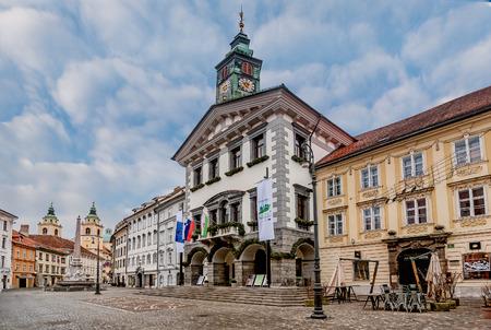 Ljubljana, Slovenia- January 7, 2019: City Square in front of the Tawn Hall in Ljubljana, Slovenia