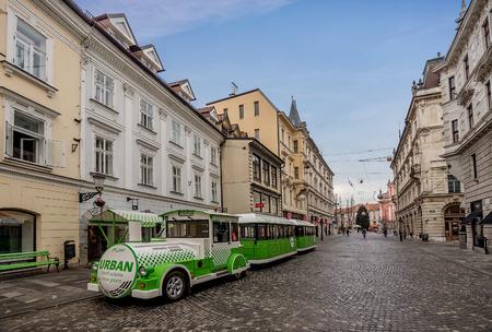 Ljubljana, Slovenia- January 7, 2019: Tourist Sightseeing train in Ljubljana, Slovenia Editorial