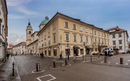 Ljubljana, Slovenia- January 7, 2019: Saint Nicholas Cathedral in the old town center of Ljubljana, Slovenia
