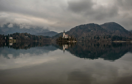 Small Island with Church at Bled lake in Slovenia