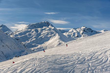 Andermatt, Switzerland- January 16, 2019: Ski resorts   Andermatt and Sedrun in Switzerland