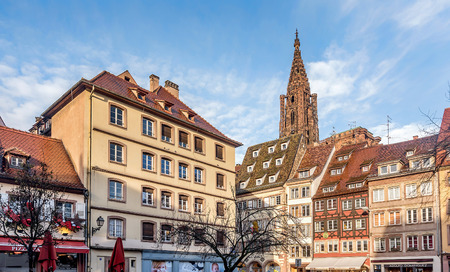 Buildings near Notre dame cathedral in Strasbourg, France