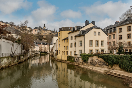 Luxembourg old town view from the Grund area of the Luxembourg city,Luxembourg