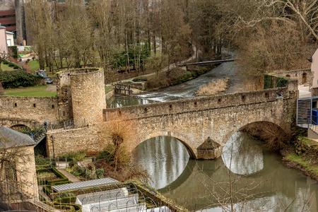 Bridge on Alzette river in Luxembourge Stockfoto