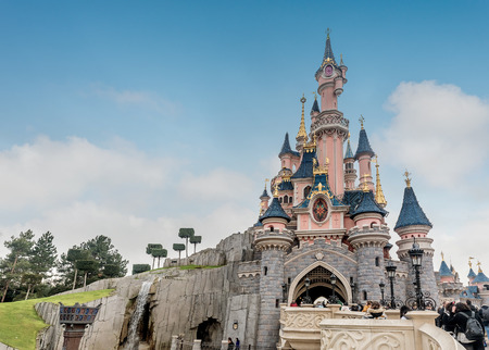Paris, France- January 12, 2019:Sleeping Beauty Castle in Disneyland park in Marne La Vallee France. Disneyland Paris Editorial