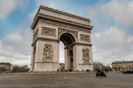 Paris, France- January 13, 2019:View of the square with Arc de Triomphe in Paris France
