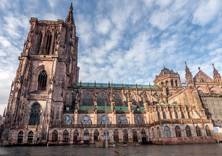 Strasbourg, France- January 9, 2019: Notre Dame cathedral in Strasbourg, France