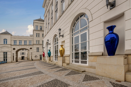 Luxembourg, Luxembourg- January 10, 2019:Multicolored mirrored vases decoration in front of the houses square to the Judicial City of Luxembourg