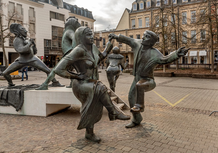 Luxembourg, Luxembourg- January 10, 2019: Funny sculptures on the square (Place du Theatre) near Theatre des Capucins in Luxembourg City,Luxembourg