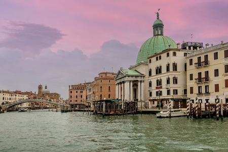 Venice, Italy- January 19, 2019:Church Of San Simeone Piccolo On The Grand Canal Of Venice, Italy