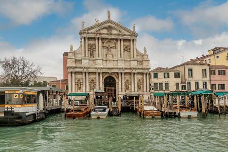Venice, Italy- January 19, 2019:Facade Santa Maria di Nazareth (Church of Scalzi) in Venice, Italy