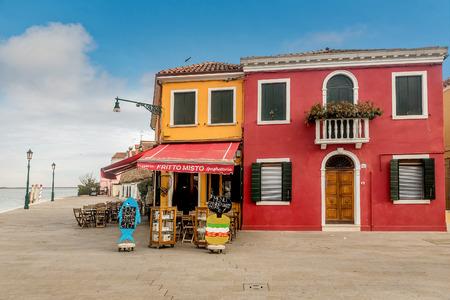 Venice, Italy- January 19, 2019:View of fish restaurant on the island Burano, Venice, Italy