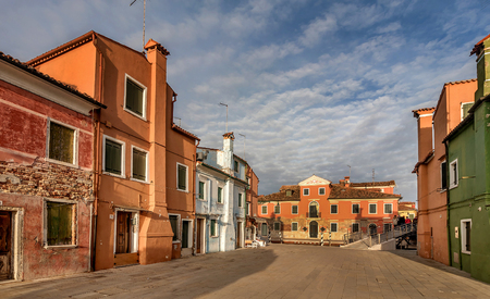 Venice, Italy- January 19, 2019:Colorful houses and  buildings in Burano, Venice, Italy