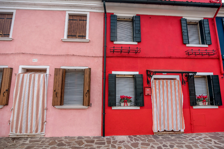 Venice, Italy- January 19, 2019: Colorful houses and  buildings in Burano, Venice, Italy
