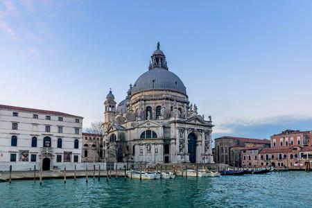 Venice, Italy- January 20, 2019: Grand Canal and Basilica di Santa Maria della Salute Venice, Italy