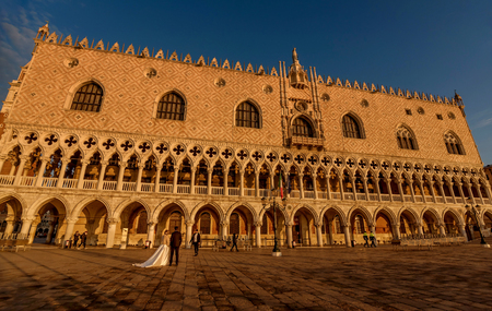Venice, Italy- January 20, 2019: Doges Palace (Palazzo Ducale) at San Marco square at night in Venice, Italy Editorial