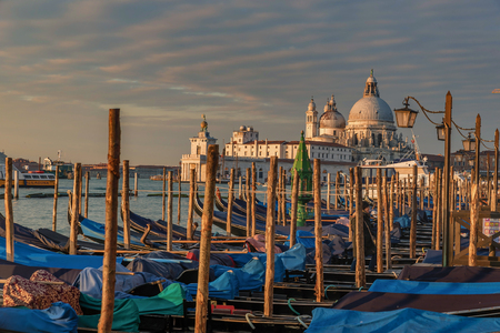 Venice, Italy- January 20, 2019: Venice gondolas on San Marco square in Venice, Italy
