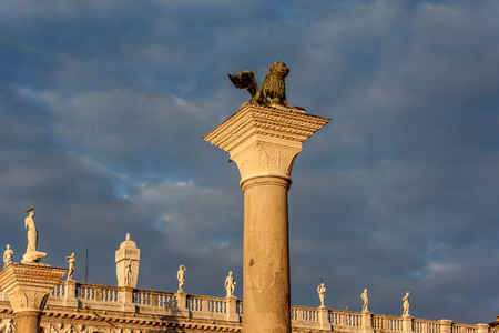 The famous ancient winged lion sculpture on the Piazza San Marco (Saint Mark`s Square) in Venice, Italy Stock Photo