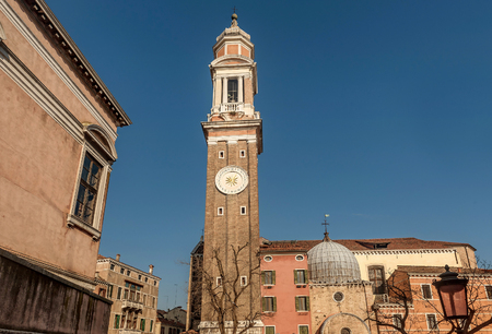Facade of the Church of the Holy Apostle in Venice, Italy