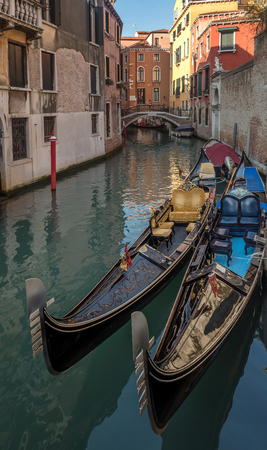 Typical water street in Venice, Italy
