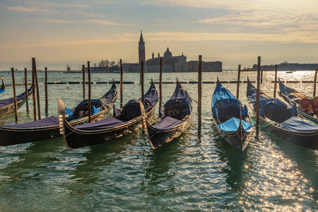 Venice gondolas on San Marco square and the Grand Canal, Venice, Italy Imagens