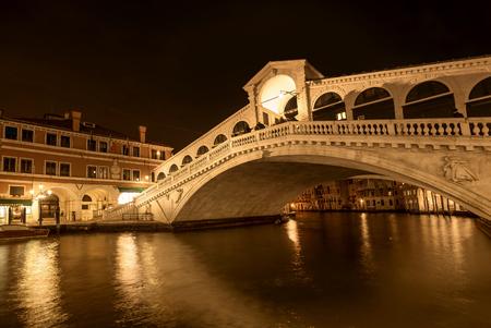 Venice, Italy- January 20, 2019: Rialto bridge by night in Venice, Italy