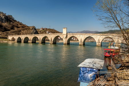 Mehmed Pasha Sokolovic  historic bridge over Drina river in Visegrad,Bosnia and Herzegovina